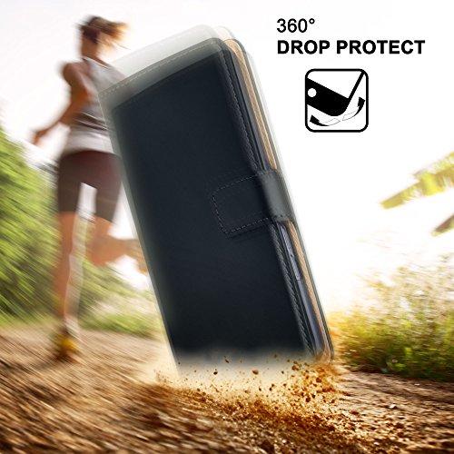 MoEx® Booklet mit Flip Funktion [360 Grad Voll-Schutz] für Huawei P9 Plus | Geldfach und Kartenfach + Stand-Funktion und Magnet-Verschluss, Schwarz - 5