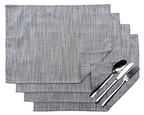 Exerz Cosyaurora – Lot de 4 Sets de Table en Lin Naturel/Basic Lin/Doux Tissu Lin/Salle à Manger Sets de Table (Light Grey)