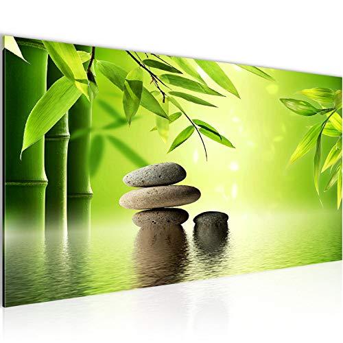 Wandbilder Feng Shui Steine 1 Teilig Modern Vlies Leinwand Wohnzimmer Flur Bambus Spa Grün 501912a