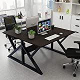 Barhe Double Computer Desks, Two Person Office Study Desk Work Station Table with Partition, Executive Desk Business Furniture with Storage Shelves, 120x120x71cm(WxLxH)
