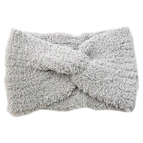Butterme - Turban en peluche - Pour femme - En forme de croix - En laine - Pour l'automne et l'hiver
