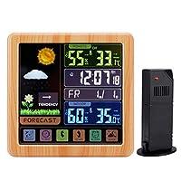 電子湿度計、多機能フルタッチスクリーン無線天候時計カラースクリーン屋内および屋外の温度および湿度検出器,Wood grain