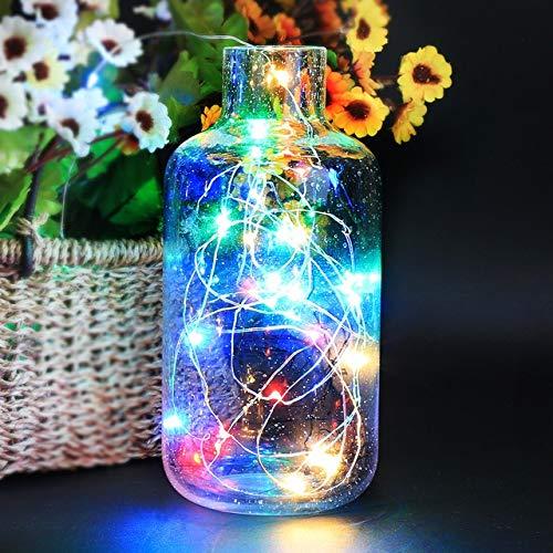 Mason Jar Lights 10PCS Wine Bottle Lights Cork Garland DIY LED Cork Shape Silver Copper Wire Fairy Mini String Lights (Emitting Color : Seven Colors, Size : 2M 20 LEDs)