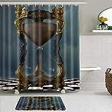 LISNIANY Conjunto De Ducha Cortina Alfombra,Reloj de Arena gótico Oro ajedrez,Uso en baño, Hotel