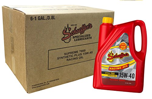 Schaeffer Manufacturing Co. 0708-006 Supreme 7000 Synthetic Plus Racing Oil, 15W-40, 1 gal (Pack of 6)