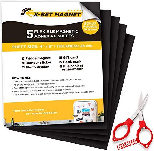 Magnetfolie - 10x15 cm - Magnete für Magnettafel - Magnetplatte - Magnetfolie Selbstklebend Stark - Magnetpapier - Selbstklebende Magnetplättchen - Klebemagnete für Fotos, Zeichnungen, DIY - 5 Stück
