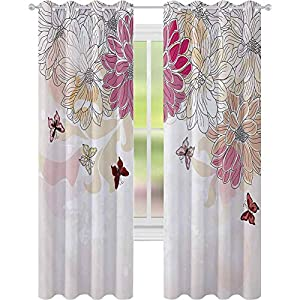 Window Treatments Curtains, Baby Pink Petals Spring Composition with Flowers and Butterflies Vintage Style Print, W52 x L95 Curtains for Baby Nursery Room, Pink Cream