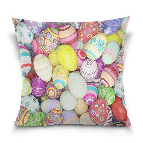 ALAZA Designs œufs de Pâques Peinture carré Coton Housse de Coussin Throw Taille Taie d'oreiller Canapé Chambre à Coucher Home Decor Bon Cadeau pour Pâques 40,6 x 40,6 cm, Coton, 41 x 41 cm