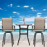 Festival Depot 3-Piece Bar Bistro Patio Outdoor Dining Furniture Sets High Stools 360° Swivel Chairs with Slatted Steel Curved Armrest Square Coffee Side Table Tempered Glass Desktop (Brown)