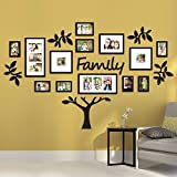 Rabhya International Wood 19-Piece Eye-Catching Collage 'Family' Tree Picture Frames, 72x45-inches(Black) - Set of 17