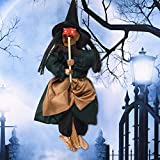 Vintage Wooden Halloween Hanging Props Welcome Sign Witch Wall Door Hanger Halloween Decorations Haunted House Decor Yard Outdoor Indoor Bar Club KTV Decoration Toys Gift (Green, with Sound & Light)