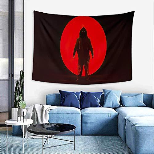Red Alien Landscape Tapestry,Wall Hanging Wall Decor Blanket for Bedrooms Living Room Dorm Home Decor,Man in A Hazmat NBC Suit Big Red Alien Sphere Dark Foggy, 59'X39'