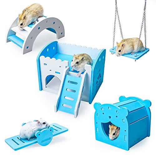 5点セットドワーフ ハムスター ハウス DIY 木造別荘 遊び場 二層式部屋 滑り台 遊び道具 組み立て簡単 運動不足解消 小さな動物 小動物用ケージ 小屋 ペット用品 かわいい ブルー 小動物に最適 (H02)