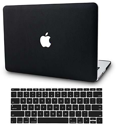 KECC Leather Case Compatible with MacBook Pro 13 (2020/2019/2018/2017/2016) w/Keyboard Cover Italian Leather A2159/A1989/A1706/A1708 Touch Bar 2 in 1 Bundle (Black Leather)