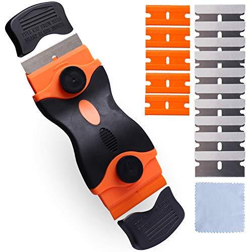 UCEC Rascavidrios y Vitrocerámica Profesional - 10 cuchillas de acero inoxidable y 5 de plástico, rascador de vidrio, rascador universal para encimera,Horno,Parrilla, + 1 Toalla plateada
