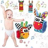 4pcs Sonajero Calcetines y Muñequeras para Bebé,Sonajero con Buscador de Muñeca y Bonitos dibujos animados animales peluche muñecas anillo campana,Juego sonajero para Recién Nacidos Niños Bebés