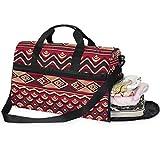 QMIN - Bolsa de viaje con cremallera y correa para mujer, diseño geométrico, estilo africano, con estampado geométrico, tamaño grande, para equipaje