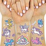 xo, Fetti Unicorn + Dragon Temporary Tattoos for Kids - 28 styles | Boys + Girl Craft, Party Supplies
