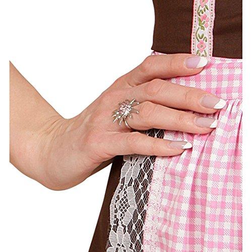 Amakando Dirndl Schmuck Oktoberfest Damenschmuck Edelweiss Ohrringe und Ring Trachtenschmuck Set Karneval Kostüm Damen Accessoires Wiesn Blumenschmuck Bayern Trachten Strassschmuck
