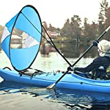 AZX Large 42' Kayak Wind Sail Paddle Portable Canoes Popup Downwind Sail Kit Kayak Accessories For Inflatable Boats Kayaks Canoes (Sky Blue)
