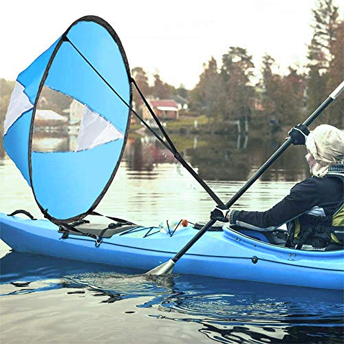 """AZX Groß 42\""""Kajak Windsegel Paddel Tragbar Kanus Popup Downwind Segel Kit Kajak Zubehör Für Schlauchboote Kajaks Kanus Einfaches Setup & Schnell Einsetzbar (Himmelblau)"""