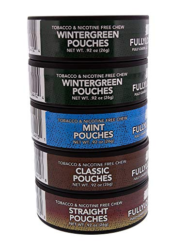Fully Loaded Chew Tobacco and Nicotine Free Sampler Pack Bullseye Pouches 5 Varieties of Flavor, Chewing Alternative