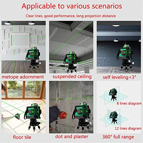 Laser 25M, Kreuzlinienlaser 3 x 360 grüner Laserpegel selbstnivellierend, grüner Strahl 3D 12 Linien, IP 54 Linienlaser Vertikale und Horizontale Linie (inklusive 3pcs Batterie) - 5