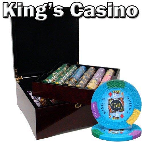 750CT Casino del Rey 14gram Poker Chip Set en madera de caoba de madera caso w/acabado brillante–libre botón de dealer y tarjetas
