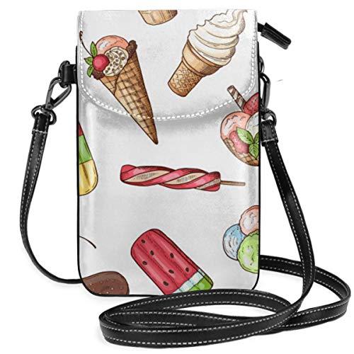 LEPO'S Handy-Umhängetasche Tasche Handtasche Nahtloses Muster mit Schokoladen-Eiscreme-süßer Lebensmittel-Nachtisch-Schokoladen-Vanilleeis Crossbody Smartphone Geldbörse