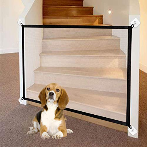 Magic Gate for Dog, Mesh Dog Gate, Portable Folding Magic Gate, Safety Guard for Pet, Safety Fence for Baby Fits...
