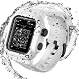 Compatible for Apple Watch Series 6/5/4/SE 44mm Case with Band, Life Waterproof Watch Cover with Strap Loop for iWatch Series 6/5/4/SE 44mm Sports, Shockproof, Sweatproof Silicone Band (White, 44mm)