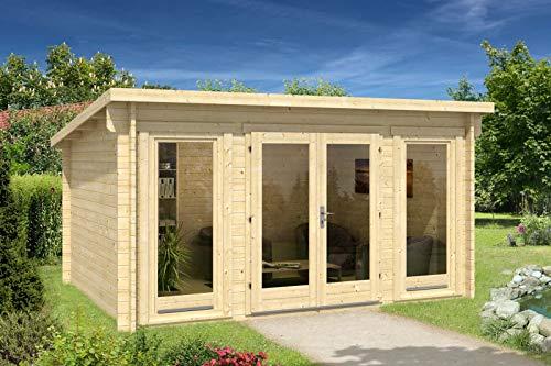 Alpholz Gartenhaus Atrium-F aus Massiv-Holz | Gerätehaus mit 40 mm Wandstärke | Garten Holzhaus inklusive Montagematerial
