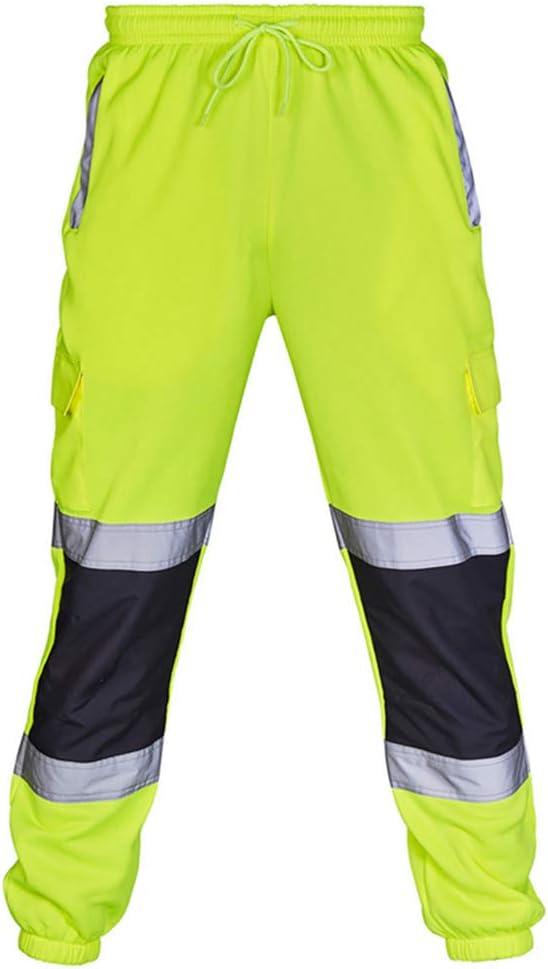 Pantalones De Trabajo Reflectantes Cómodos Monos De Hombre Pantalones De Jogging Planos De Alta Visibilidad Pantalones De Rayas con Rayas Reflectantes
