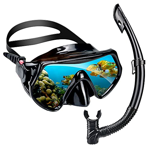 hfgjbh Snorkel Set for Adults, Snorkeling Gear with Dry Top Tube,Snorkeling Gear for Adults,Panoramic Wide View,Anti-Fog Scuba Diving Mask,Ideal Snorkel mask for Youth, Adults, Women