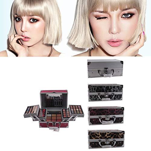 Leopard Makeup Bag Kosmetiketuis Lidschatten-Palette für Maskenbildner Multifunktionales Kosmetiketui Set 1 Set-N4 Rotbrauner Leopardenmuster