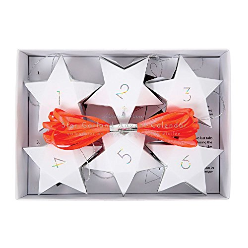 Adventskalender Sterne-Girlande Weiß / Star Garland Advent Calendar