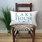 DKISEE Lakehouse Pillow Cover, Lake House Decor, Lake Pillow Cover, Cotton Canvas Decorative Throw Pillow Cover, Rectangle Oblong Lumbar Pillowcase Cushion Cover for Sofa, Bed, Couch, 12x18 Inch