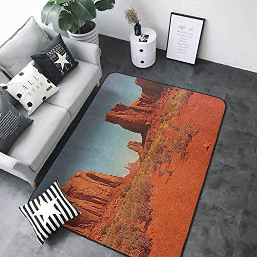"Soft Area Children Baby Playmats Desert,Sunny Hot Day Monument Valley Arid Country Primitive Nation Arizona USA, Dark Orange Pale Blue 80""x 96"" Best Floor mats"