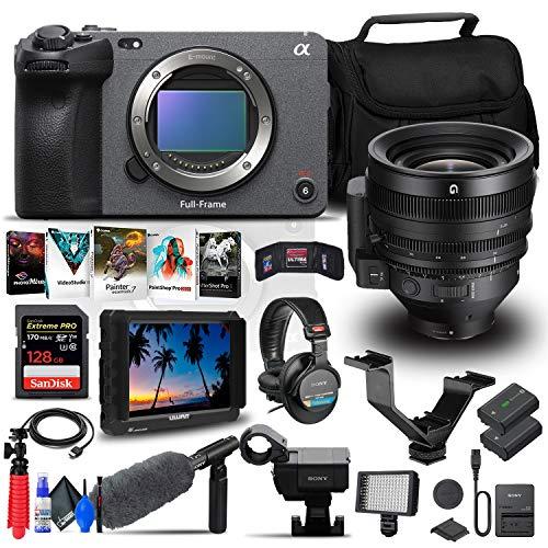 Sony FX3 Full-Frame Cinema Camera (Body Only) (ILME-FX3) + Sony FE C 16-35mm T3.1 G Lens + 4K Monitor + Pro Headphones + Pro Mic + 128GB Memory Card + Corel Photo Software + More (Renewed)