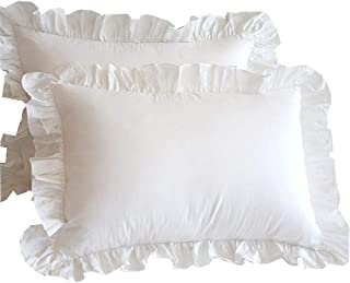 White Ruffle Pillow Shams European Square Set of 2 - 600 Thread Count 100% Soft Egyptian Cotton Edge Ruffle Euro Pillow Shams Gorgeous Euro Size Decorative Pillow Cases (European 24