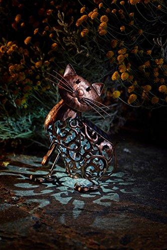 Wunderschöne Metall Garten Deko Figuren Solar Tiere mit LED Beleuchtung und Lichtsensor | wunderschöne Garten Dekoration mit Solar LED Leuchten (Katze weiße LED) je 20 cm hoch x 25 cm breit