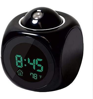 LTOOD Proyección Pantalla LED Hora Reloj Despertador Digital Hablar Voz Indicador de Servicio Termómetro Repetir Función