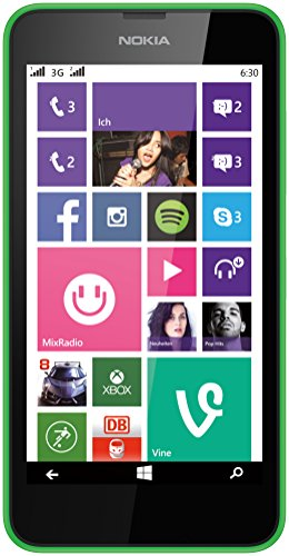 Nokia Lumia 630 Dual-SIM Smartphone (4,5 Zoll (11,4 cm) Touch-Display, 8 GB Speicher, Windows 8) grün