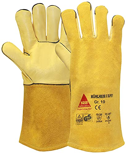 Hase Safety MÃœHLHEIM II-SUPER - Guantes de soldadura con forro (piel de vacuno, certificado TÃœV GS, talla 9)