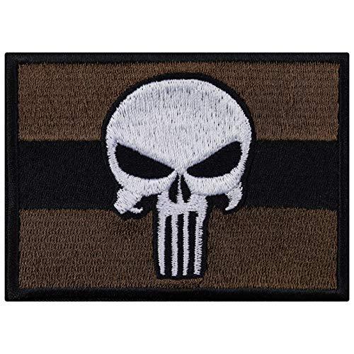 Parches bordados de bronce de Punisher para coser o planchar, para adultos, diseño de calavera motera, para...