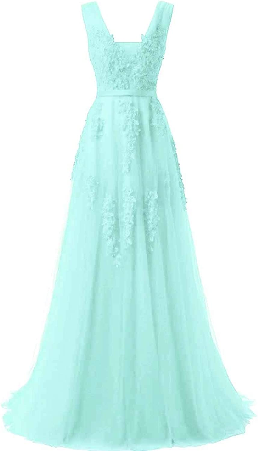 MorySong Women's Lace Beading Backless Aline Long Prom Formal Evening Dress
