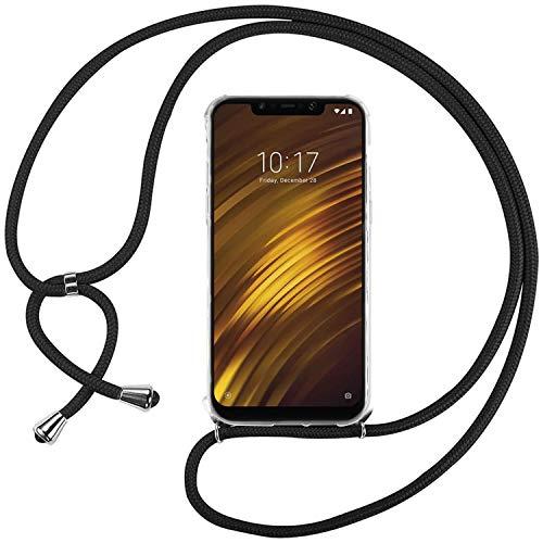 Ingen Funda con Cuerda para Xiaomi Pocophone F1 - Carcasa Transparente TPU Suave Silicona Case con Colgante - Negro