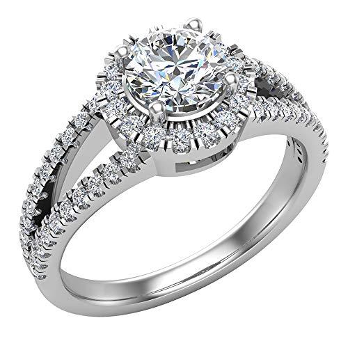 Split Shank Halo diamante anello 1.20Ctw anello di fidanzamento in oro 14K (g, si), Oro bianco, 9,5, cod. GDGR2091