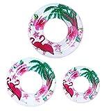 Queta 3 Neumáticos natación Tres tamaños Flotador Rueda Hinchable Piscina Boya Multicolor Aillo de natación niños adultos(Flamenco/hojas /fruto)