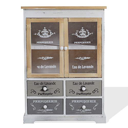 Rebecca Mobili Credenza Mobile Cucina 4 Cassetti 2 Ante Legno Paulownia Bianco Beige Grigio Shabby Cucina Sala - 81 x 58 x 30 cm (H x L x P) - Art. RE4479